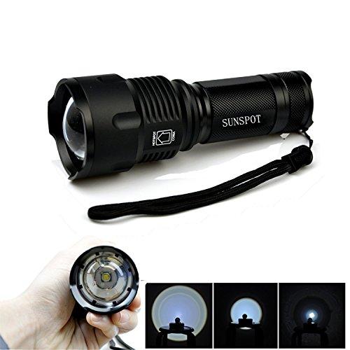 Sunspot - Lampe torche à LED avec zoom CREE XML T6 + 1 pile (18650) + chargeur UE 1 noir