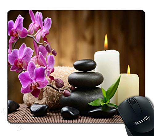 Creative Zen Zen Stone (Gaming Mouse Pad Custom Zen Garden Theme - Stone Pink Flowers Burning Candle Personality Gaming Mouse Pad)