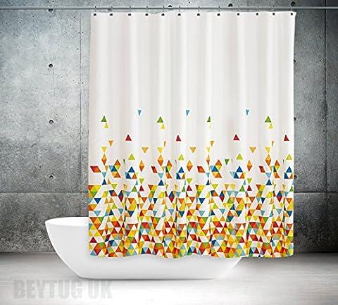 Qualité extra long et large ou Largeur étroite Rideau de douche en tissu–Monde de couleurs, Multi Colour Shower Curtain, 240 X 200CM