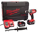 Milwaukee Trapano avvitatore a batteria FUEL M18FPD con 2 batterie HD Box da 18 V/5,0 Ah Li-Ion, 4933451061