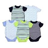 Baby Kurzarm-Body mit Aufdruck Spruch 100% Baumwolle Jungen Babybody Mädchen im 5er Pack, Farbe: Junge 2, Größe: 92