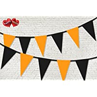 PARTY DECOR Pastel Orange and Black coloured Halloween Bunting Banner 15 Flags For Guaranteed Stylish party decoration