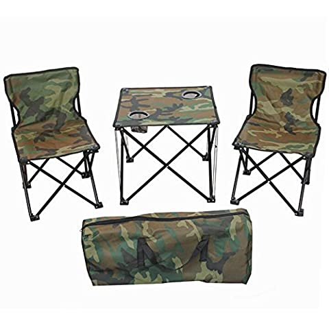 Chaise pliante Camping Picnic Portable Outdoor Garden Party BBQ Dining Coffee 3pcs set