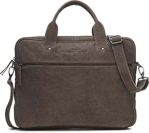 URBAN FOREST, Leder Messengertasche mit Laptopfach, Aktentaschen, Business-Bags, Messenger, Messengerbags, Umhängetaschen, 37,5 x 29,5 x 6,5 cm (B x H x T) Hellgrau