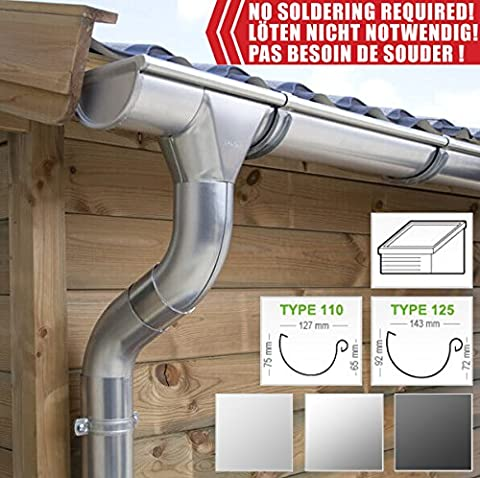 Zinc guttering kit for shed roof (1 roofside)   in titanium zinc/ galvanised/ anthracite! Ideal for shed or summer house! (All-in-one kit up to 5,10 m [type 125], Titanium