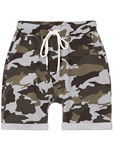 BEZLIT Jungen Kurze Baggy Capri Hose Stoff Shorts in Camouflage Made in Italy 22718 Grau Größe 140