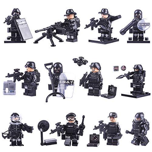 MOEGEN 12St.Mini Figuren Set Polizei Soldaten SWAT Team Minifiguren Set Bausteine für Kinder