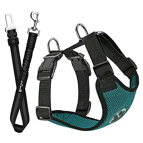 SlowTon Hundegeschirr mit Sicherheitsgurt Double luftdurchlässiges Latex-Gittergewebe Geschirr reguläre Reisenweste Autosicherheitsgurt für alle alltäglichen und sportlichen Aktivitäten dem Vierbeiner