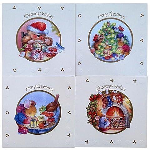 16 carré 'Country Heavenly Companion caractéristique cartes de Noël avec enveloppes, 4 designs