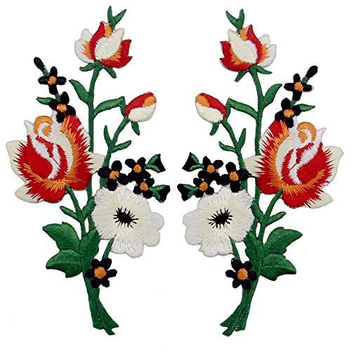 ZEGIN Aufnäher, Bestickt, Design: Retro Blumen Strauß Boho Rose, zum Aufbügeln oder Aufnähen, rot-Weiss (Kinder Kostüm Punk Rot)