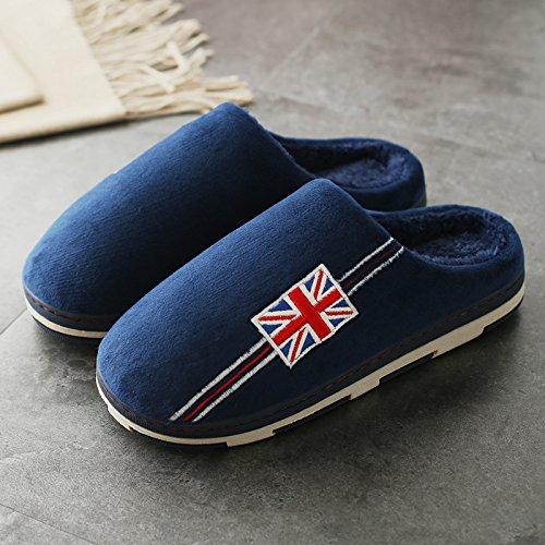 DogHaccd pantofole,Paio di pantofole di cotone gli uomini e le donne spesso al coperto, antiscivolo Autunno Inverno home soggiorno con un grazioso scarpe eleganti Blu scuro3