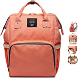Diaper Bag Waterproof Travel Backpack Multi-Function Light Weight Large Capacity Nappy Bags For Baby Care Easy To Use Stylish And Durable Orange  (Pink-orange)