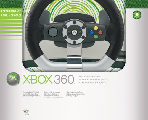 Microsoft Xbox 360 Wireless Racing Wheel - Volante/mando (Ruedas + Pedales, Xbox, Inalámbrico)