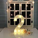 oamore LED Alphabet Licht Brief Dekorative Lampe Licht LED Weiß Beleuchtete Buchstaben und Zahlen für Geburtstag Hochzeit Bar Wandbehang Dekor (2)