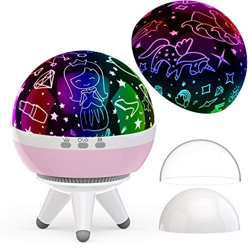 Jahre alt, Einhorn Prinzessin Projektor,Geschenke für Kinderzimmer,Weihnachtsgeschenk,Spielzeug für Mädchen Alter 1-10 (Rosa) ()