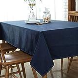 Topmail Rechteckige Marineblau Baumwolle Leinen Tischdecke Waschbar Lange Esstisch Küchentischabdeckungen für Party Esszimmer (130x220 cm, Marineblau)