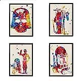 Set de 4 láminas para enmarcar STAR WARS estilo acuarela. Posters con...