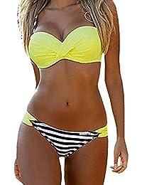 SOMESUN Femme Sexy Bikini Maillots de Bain Ensembles Couleur Unie Bandeau Soutien-Gorge Sans Bretelles et Sous-Vêtement Maillots Deux Pièces Maillots de Bain Plage (Vert, S)