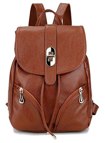 Tibes Moda mochila de cuero pequeño Mochila impermeable Chicas/ Mujeres marrón