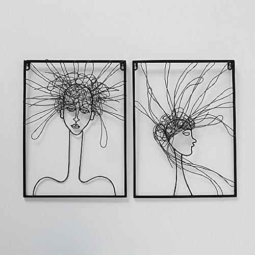 CasaJame Modern Metall Wandobjekt 2er Set Sortiert Gesichter Portraits mit Haaren schwarz 40x30x1cm