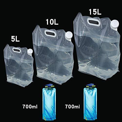 CHBOP 5 STK (5L+10L+15L+2 * 0.7L) Wassertank Camping Wasserkanister Wasserbeutel Faltkanister Faltbar Wasserbehälter Wassertank Trinkwasser Behälter für Reise Wandern Jagd Reisen Outdoor Auto mit