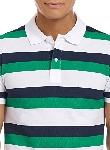 oodji Ultra Herren Klassisches Poloshirt Gestreift Grün (6279S)