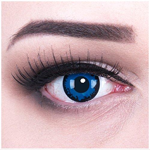 Funnylens 1 Paar farbige blaue dunkelblaue Crazy Fun Dark Blue Jahres Kontaktlinsen + 4 BLUTKAPSELN. perfekt zu Halloween, Karneval, Fasching oder Fasnacht mit gratis Kontaktlinsenbehälter ohne Stärke!
