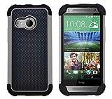 G-Shield HTC One Mini 2 Hülle Silikon Stoßfest Schutzhülle Dünn Tasche Hybrid Armor Cover Case Etui Handyhülle mit Displayschutzfolie und Stylus - Grau