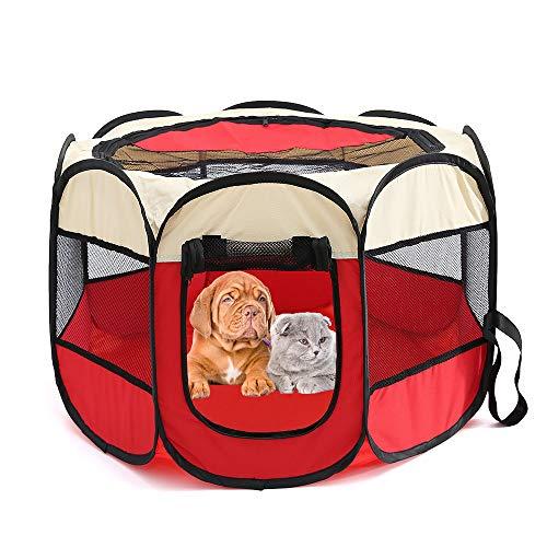 JLCYYSS Haustier-Beweglicher Faltbarer Laufstall, Übung 8-Panel Kennel-Maschen-Schatten-Abdeckung Innen- / Im Freienzelt-Zaun Für Hunde Katzen (S, L) Rot,S -