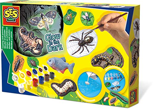 ES SES 01153 Children's Scary Animals Glow in The Dark Casting and Painting Set