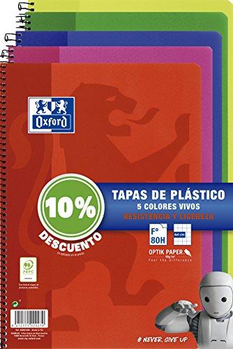Oxford - Pack de 5 cuadernos (tapa plástico, 80 hojas, cuadrícula 4x4 con margen, colores surtidos vivos)
