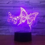 3D Butterfly Night Light Illusion Lamp 7 Color Change LED Touch USB Table Gift Kids Toys Decor Decorations Christmas Valentines Gift