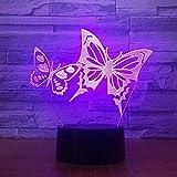 3D Der schmetterling Optische Illusions-Lampen, Tolle 7 Farbwechsel Acryl berühren Tabelle Schreibtisch-Nachtlicht mit USB-Kabel für Kinder Schlafzimmer Geburtstagsgeschenke Geschenk