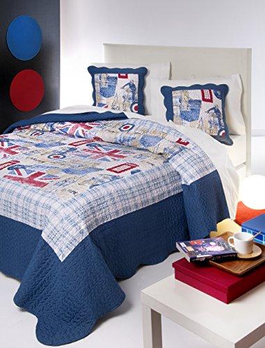 Colcha bouti juvenil microfibra estampada modelo England - cama 135 - medida...