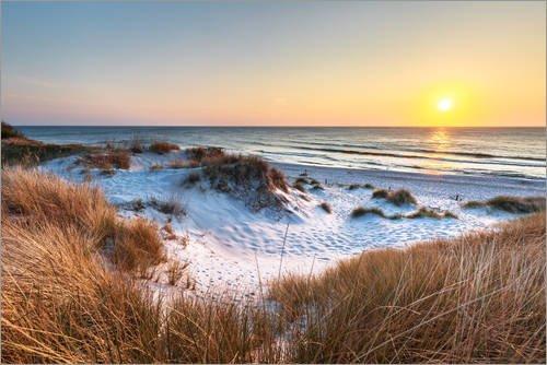 Posterlounge Holzbild 180 x 120 cm: Sonnenuntergang am Darßer Weststrand, Ostseeküste von Sascha Kilmer