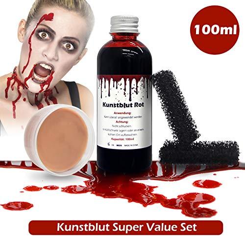 SHENMATE Halloween Kunstblut Zombie Vampir Schminke Wundschorf Fake Blood Künstliches Blut Filmblut mit Schminke für Wunden und Make-up Schwamm