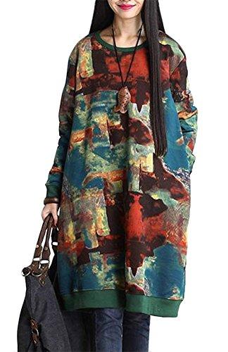 Pull Femme Swag Robe Lâche Imprimée Blouse Longue Vêtement Hiver Taille Grande - Très Chic Mailanda, Multicolore, Taille Unique