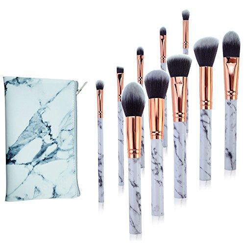 AKAAYUKO 10PCS Kit de Pinceau Maquillage Professionnel Blush Pinceau Poudre Brush Fard à paupières Sourcils -Sac pu