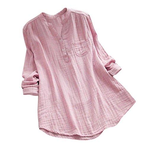 Overmal Femmes Coton Grande Taille Manches Longue V-Neck Blouse T-Shirt Été Mode Couleur Unie en Vrac Chemise Sexy Top sans Bretelle Décontractée Haut de Bureau de Travail