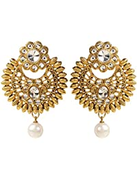 Shining Jewel Traditional Royal Gold Chandbali Earring With Pearls (SJ_596)