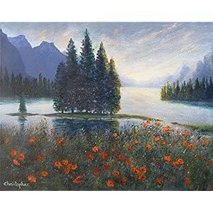 Lakeside poppies - Original kleine Landschaftsmalerei.