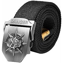 Ayliss® - Cinturón de lona con hebilla de calavera para hombre Schädel, Schwarz Longitud: 140 cm