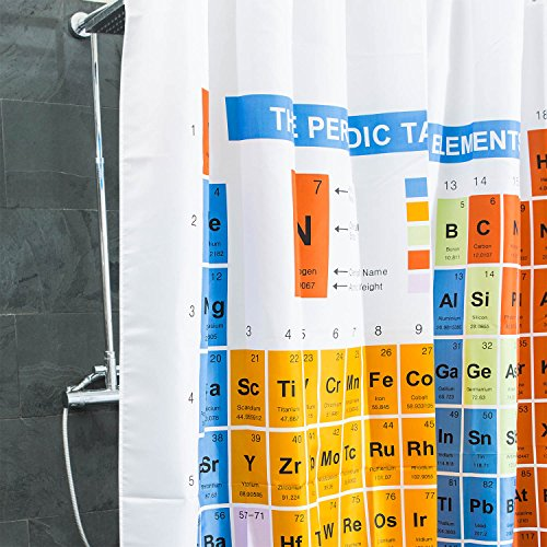 Duschvorhang Periodensystem textil | PSE Badewannen-Vorhang 100% Polyester | Badezimmer Badewanne Anti Schimmel 180 x 180 cm | Nerd Geschenke | Deko wie Big Bang Theory Chemie Elemente Breaking Bad Stoff Dusche Vorhang Grün