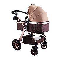 Hopopular Baby Stroller 3 in 1 Foldable Anti-shock High View Carriage Infant Stroller Pushchair Pram