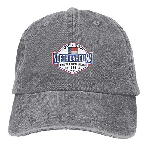 North Carolina The Tar Heel State First in Flight Charlotte Adjustable Sport Jeans Baseball Golf Cap Hat Unisex Style