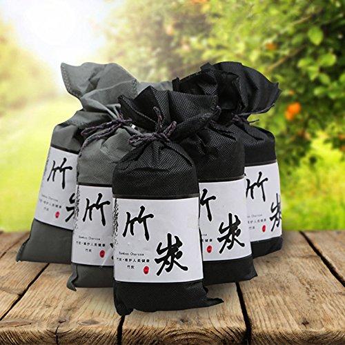 FidgetFidget 5x100g Bambus Lufterfrischer, Aktivkohle Luftreiniger Anti-Schimmel Luftentfeuchter Granulat für Auto, Wohnung, Küche, Schuh, Black