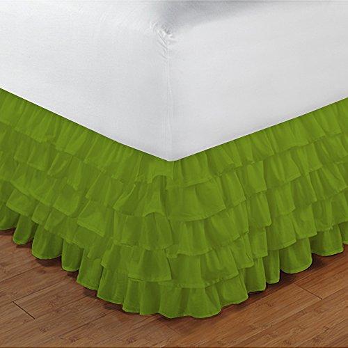 600TC 100% cotone egiziano, finitura elegante 1pcs multi Ruffle Giroletto solido (goccia lunghezza: 13cm), Cotone, Parrot Green Solid, EU_Double