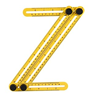Multi Angle Measuring Ruler, Adjustable Ruler For 2 Pack, Angleizer Template Tool/Layout Tool Measurement for Woodworking, Crafters, Construction Workers, Carpenters, Engineers, DIY-ers (Yellow2Pack)