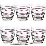 Montana WH Becher :swirl 6/Set farbig rot inkl. 6 Dekokaufhaus Untersetzer, Whiskybecher Saftglas Wasserglas