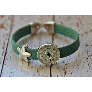 Armband aus Kork Vegan Pusteblume Stern Glas